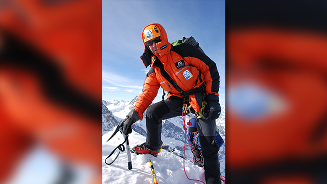 Sir Ranulph Fiennes in one of his mountain climbing expeditions
