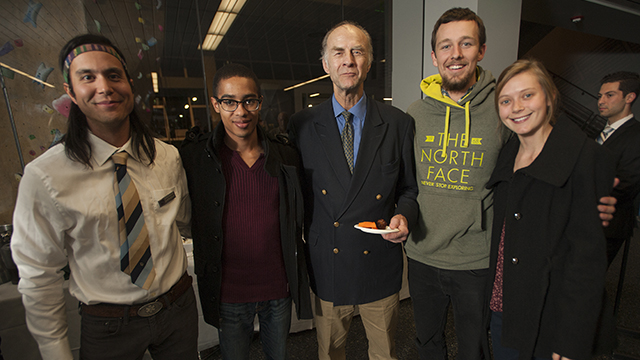Cal Poly Pomona students pose with Sir Ranulph Fiennes during his visit as part of the Kellogg Distinguished Public Lecture Series.