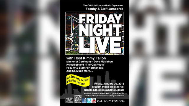 A poster for the Friday Night Live event to raise money for the Steinway Initiative.
