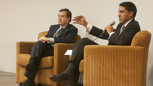 Rajiv Shah (right), adminstrator of USAID, and Congressman Ed Royce (left), participate in a USAID Town Hall meeting at Cal Poly Pomona on Jan. 11, 2015.
