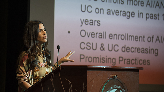 Dr. Joely Proudfit speaks at the 2015 Unity Luncheon at Cal Poly Pomona.