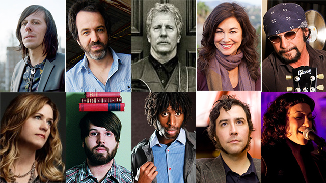 Clockwise from top left: Songwriters Ken Stringfellow, Joe Pernice, Chris Hillman, Shelly Peiken, David Z. Rivkin, Jess Furman, Bleu McAauley, Will Bissic AKA MC Prototype, Nate Campany, and Vicki Peterson will spend an afternoon teaching a free master class in songwriting at Cal Poly Pomona. The class is open to the public.