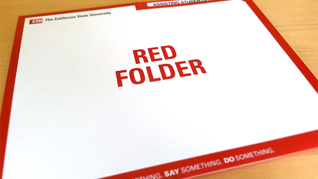 "Cal Poly Pomona staff and faculty will receive the ""Red Folder,"" an informational guide on assisting students in distress."