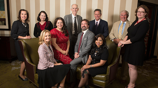 The Distinguished Alumni Award winners for 2015 are (front row from left) Juliana Terian, Maribel Garcia, Jeffrey Abramson and Marissa Andrada; (back from from left) Pilar Hamil, Teresa Becker, Kevin Grundy, Lee R. Godown, Gary Rinehart and Alyssa Lang (winner of the Alumni Outstanding Teaching Award).