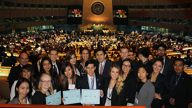 Cal Poly Pomona's Model United Nations recently received the Outstanding Delegation Award at the annual conference in New York.