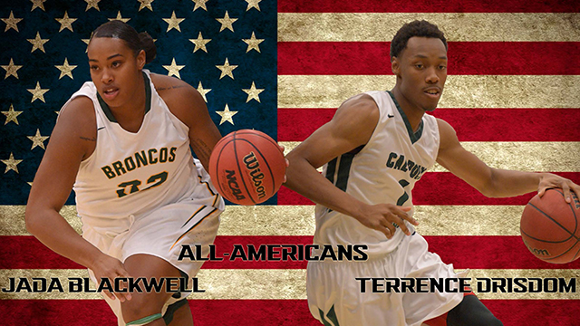 Seniors Jada Blackwell and Terrence Drisdom both earned NCAA Division II All-American honors.