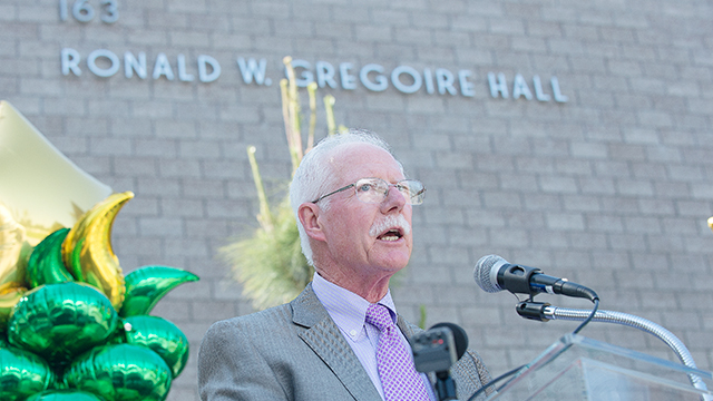 Cal Poly Pomona alumnus Ronald Gregoire speaks during naming ceremony for the Ronald W. Gregoire Hall in the College of Business Administration complex.