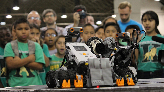 Nearly 200 students from six elementary and middle schools in the Pomona and Walnut school districts converged at the Cal Poly Pomona College of Education & Integrative Studies' sixth annual Robot Expo at Fairplex on April 27.