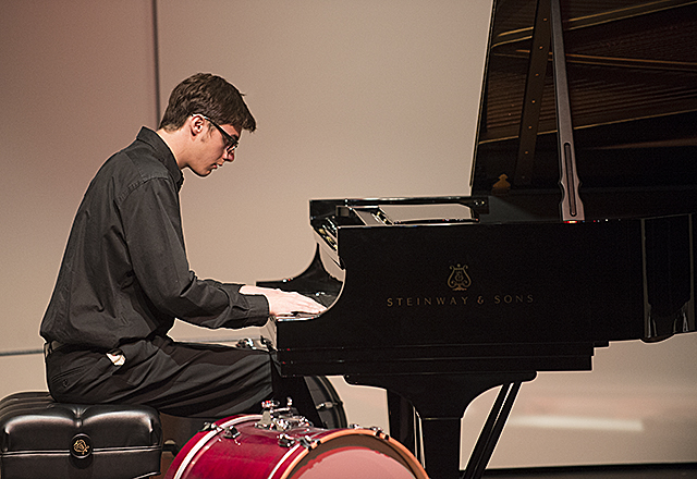 Matt Borgialli plays a Steinway grand piano  during Celebration of Becoming an All_Steinway School at the Recital Hall at Cal Poly Pomona.