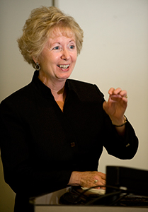 Brum spoke during welcome to Worlds Connect at the Cal Poly University Library in 2009.