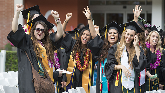College of Science graduates celebrate during a commencement ceremony at Cal Poly Pomona on June 12, 2015.