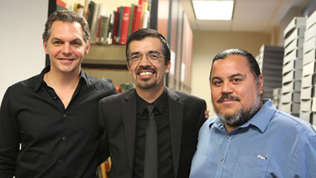Cal Poly Pomona Professor Alvaro Huerta (center) recently presented at a symposium on organizing Latino immigrants with UCLA law professor Scott L. Cummings (left) and community activist Adrian Alvarez (right). Photo courtesy of Professor Alvaro Huerta.