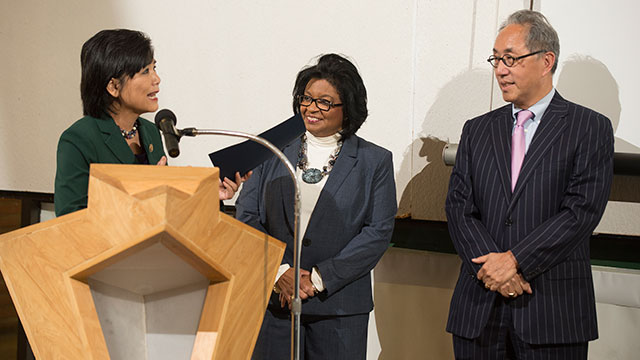 Congresswoman Judy Chu presents President Soraya M. Coley and Dean Michael Woo with proclamation at Parks Onward Day at the College of Environmental Design on May 28.