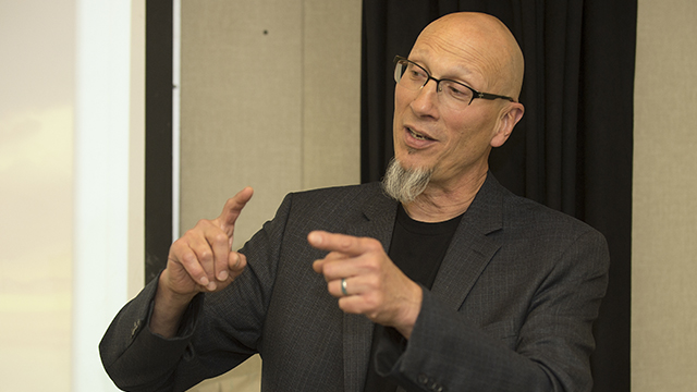 "Roy Conli, an alumnus and the Oscar-winning producer of ""Big Hero 6,"" speaks to theater students at Cal Poly Pomona."