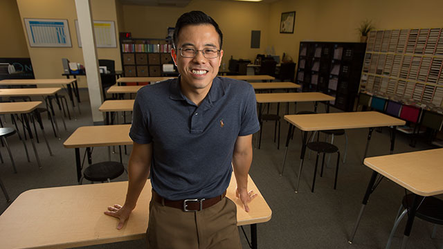 Justin Lim, who got his teaching credential at Cal Poly Pomona, is now a teaching coach.