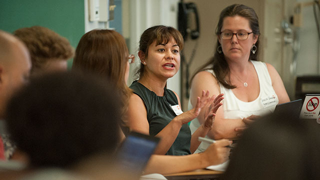 Andrea Mendoza, a teacher from the Arcadia School District, talks at during a break out session at the California Teachers Summit 2015 at Cal Poly Pomona July 31, 2015.