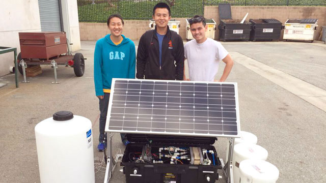 Civil engineering Professor Ali Shabat and a team of 11 students built a compact desalination unit designed to turn groundwater into something drinkable. Courtesy photo.
