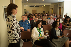 Kathy Street, acting vice president for the Division of Student Affairs, speaks on Seizing the Opportunity to Improve Student Success during 2015 Fall Conference.