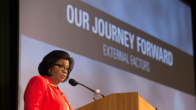 University President Soraya M. Coley shares her vision for Cal Poly Pomona's future at Convocation.
