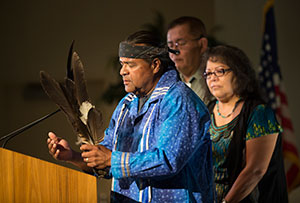 Kim Marcus, a Native American tribal elder, opened the event with a blessing.