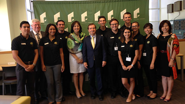 Rep. Ed Royce (center) recently hosted a field hearing on campus related to property rights and development in Southeast Asia.
