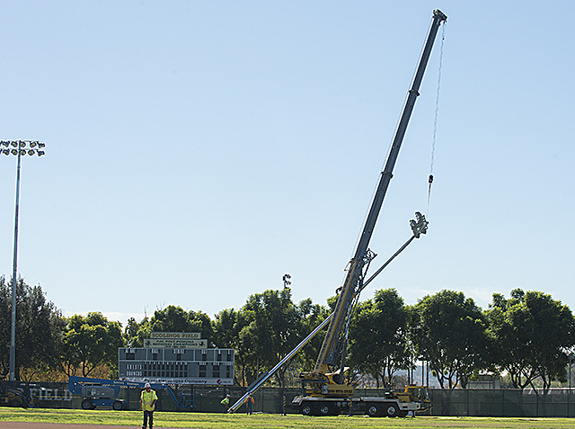 New lights go up at Scolinos field at Cal Poly Pomona.