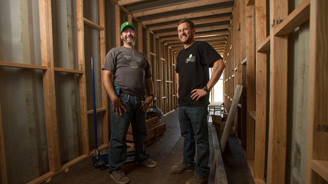 Ryan Anderson, left, and Bret Timmons, right, are veterans of the Marine Corps and agriculture students. They are turning cargo containers into hydroponic agriculture pods.