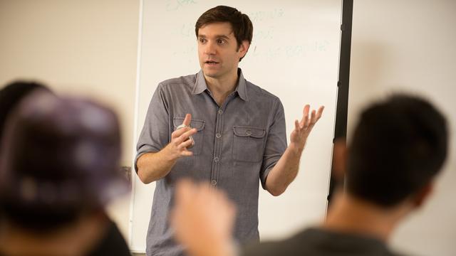 Philosophy Professor Alex Madva teaches a class on unconscious bias.