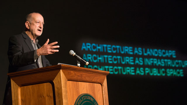 International Architect Enrique Norton speaks to a campus audience.