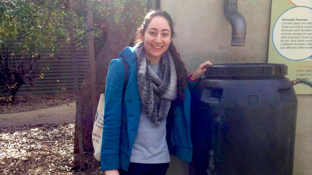 Pomona biology student Renee Estephan developed a water recycling system.