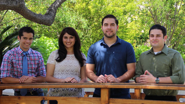 From left to right: Lucas De Buren, a civil engineering student; Eliza Hernandez, a biology student; Antonio Aguayo, a biology student, engineering student; and David Velasquez, a chemistry student.