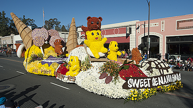 The 2016 Cal Poly Universities Rose Float, Sweet Shenanigans, makes its way down Colorado Boulevard during the 2016 Rose Parade January 1, 2016.