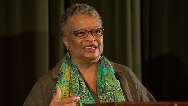 Wenonah Valentine speaks at the 24th Annual Unity Luncheon at Cal Poly Pomona February 11, 2016.