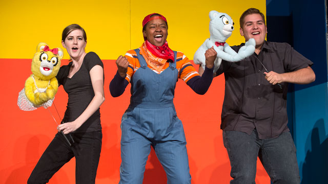 Samantha Girad as Girl Bear, Ashley Tripp as Gary Coleman and Jonathan Agurcia as Boy Bear in The Cal Poly Pomona Theater Department's production of Avenue Q.