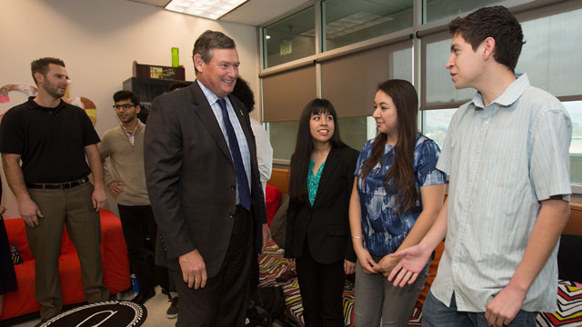 Chancellor Timothy P. White visits with students at the Idea Lab Feb. 18, 2016.