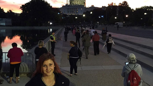 Mary Ashley Cherney visits sites near the Capitol while attending the Teach For America 25th Anniversary Summit in Washington, D.C.