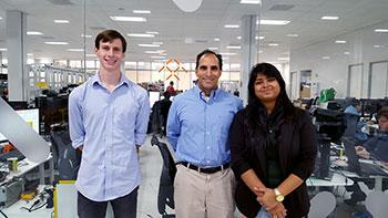 Paryani (center) at Faraday Future with Cal Poly Pomona students and interns John Alser and Nabiha Iqra.