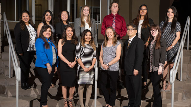 Recipients of PIE fellowships are (bottom row from left) Andrea Cortez, Angelica Parra, Lizbeth Hernandez, Stephanie Fujii, Joon Boum Park and Courtney Good, and (top row from left) Jazmine Silver, Evelyn Leon Aceves, Theresa Taing, Cara Borchardt, Eric Cuevas, Mariel Santos and Cynthia Cruz.