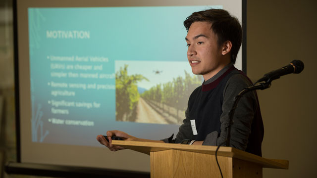 Paul Navarro gives a presentation on detecting physical plant defects using aerial imagery as part of the 4th Annual Student Research, Scholarship and Creative Activities Conference at Cal Poly Pomona March 4.