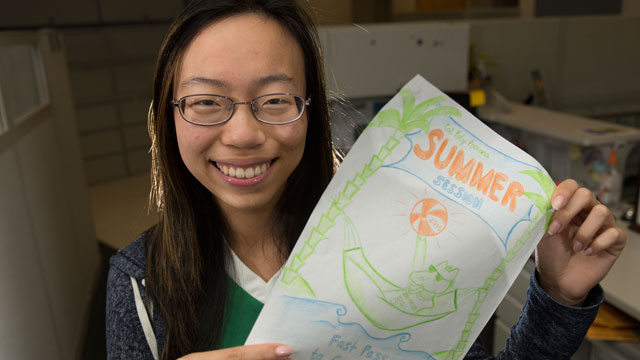 Philine Tran, a second-year business student, won Cal Poly Pomona's summer term 2016 T-shirt design contest.