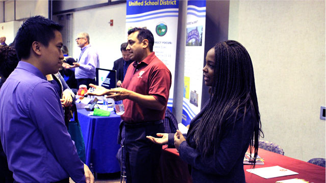 More than 80 education employers and hundreds of students, faculty and staff participated in Cal Poly Pomona's Teacher Education Job Fair.