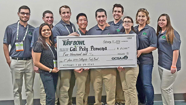 A Cal Poly Pomona team of students won second place last month in the Golf Course Superintendent Association of America's Collegiate Turf Bowl Competition.