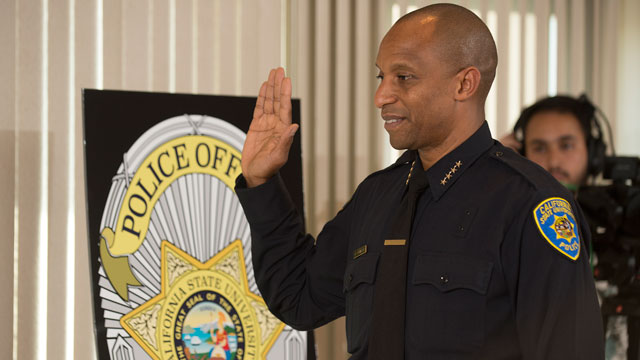 Police Chief Dario Robinson is sworn in during a ceremony at Cal Poly Pomona April 21, 2016.
