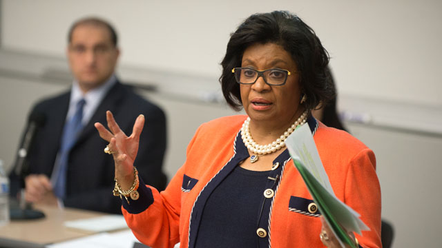 University President Soraya Coley speaks to the Academic Senate at Cal Poly Pomona May 4, 2016.