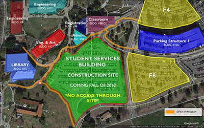 Lot C will be closed during construction of the new Student Services Building.