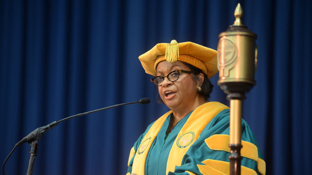 President Soraya M. Coley gives her commencement address at her alma mater Lincoln University. Photo credit: Robert Williams