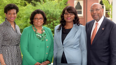 Pictured left to right: Lincoln University Board of Trustees Chairwoman Kimberly A. Lloyd, Cal Poly Pomona President Sorarya M. Coley, Namibian Prime Minister Saara Kuugongelwa-Amadhila, and Interim Lincoln University President Richard Green at President's reception following Commencement 2016. Photo Credit: Robert Williams