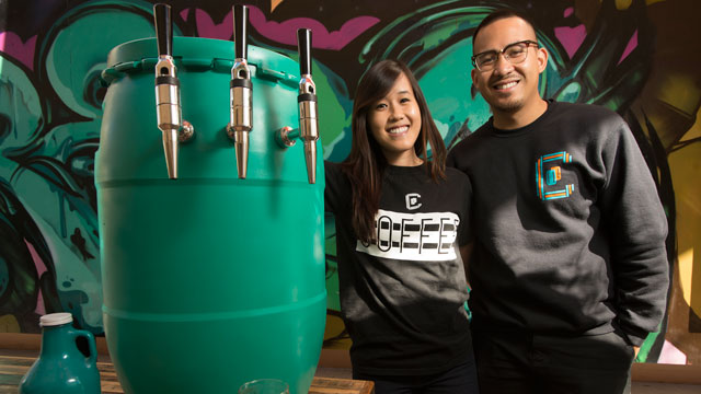 Cal Poly Pomona alumni Julie Nguyen and Paul Del Mundo own Contra Coffee.