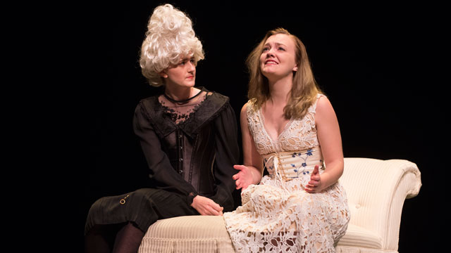 Samantha Girod as Madame de Rosemonde and Rachel Hale as Madame Marie de Tourvel in the Cal Poly Pomona Department of Theatre and New Dance presentation of Les Liaisons Dangereuses opening May 20.
