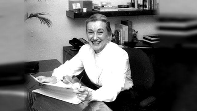 Professor Emerita Margarita McCoy in her office in 1986.